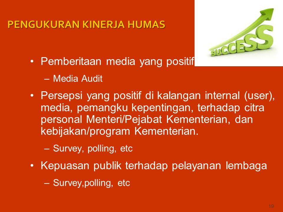 Pemberitaan media yang positif –Media Audit Persepsi yang positif di kalangan internal (user), media, pemangku kepentingan, terhadap citra personal Menteri/Pejabat Kementerian, dan kebijakan/program Kementerian.