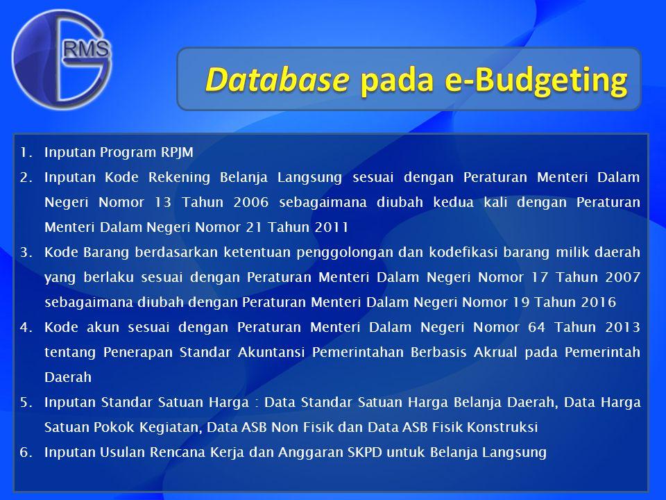 1.Inputan Program RPJM 2.Inputan Kode Rekening Belanja Langsung sesuai dengan Peraturan Menteri Dalam Negeri Nomor 13 Tahun 2006 sebagaimana diubah ke