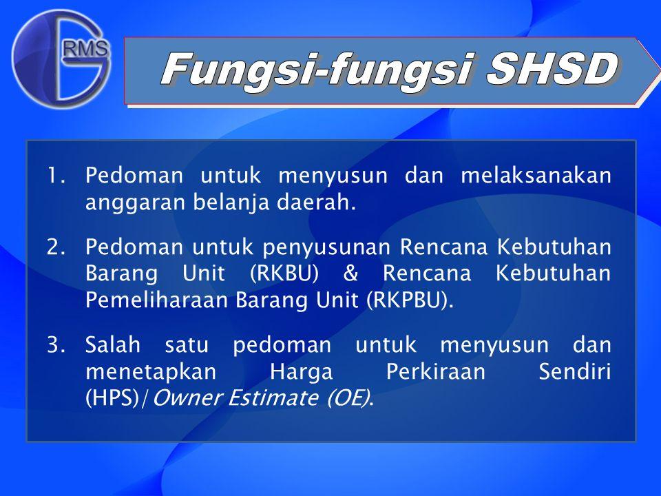 1.Pedoman untuk menyusun dan melaksanakan anggaran belanja daerah. 2.Pedoman untuk penyusunan Rencana Kebutuhan Barang Unit (RKBU) & Rencana Kebutuhan