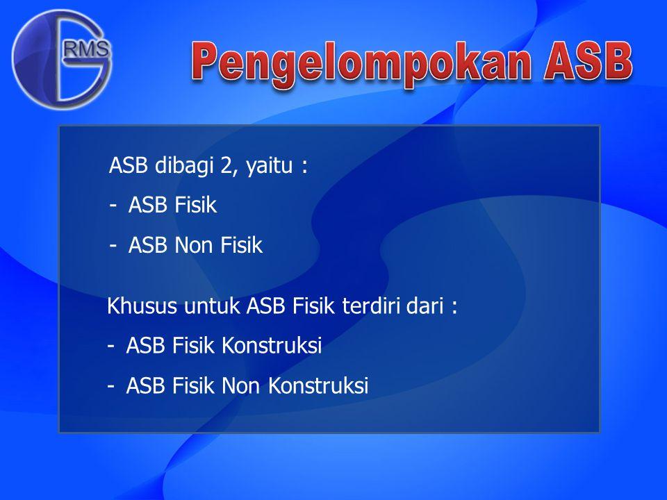 ASB dibagi 2, yaitu : -ASB Fisik -ASB Non Fisik Khusus untuk ASB Fisik terdiri dari : -ASB Fisik Konstruksi -ASB Fisik Non Konstruksi