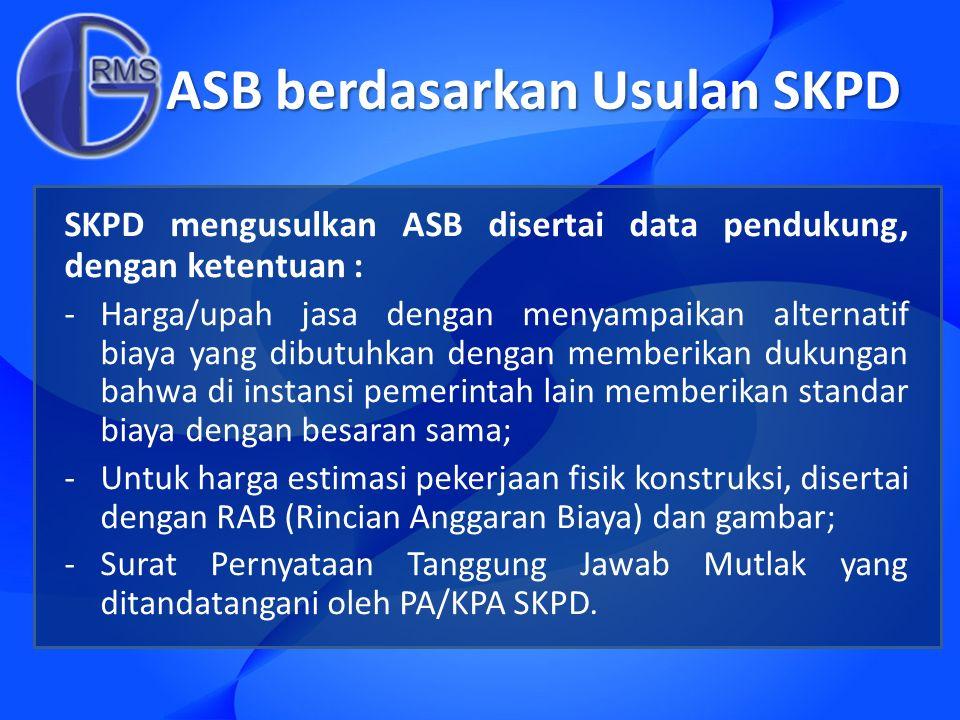 ASB berdasarkan Usulan SKPD SKPD mengusulkan ASB disertai data pendukung, dengan ketentuan : -Harga/upah jasa dengan menyampaikan alternatif biaya yan