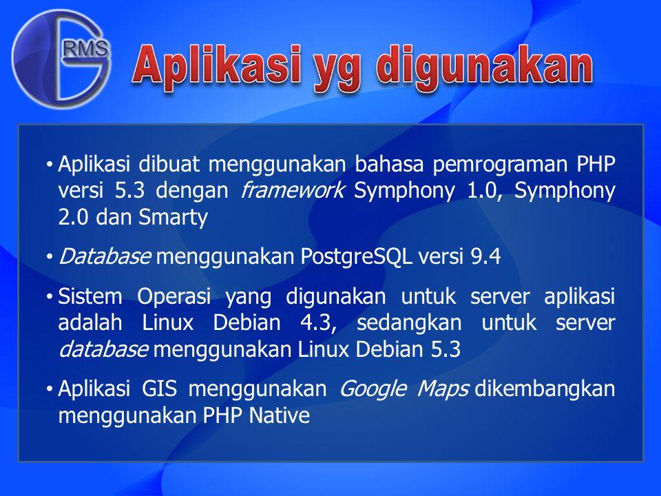 Aplikasi dibuat menggunakan bahasa pemrograman PHP versi 5.3 dengan framework Symphony 1.0, Symphony 2.0 dan Smarty Database menggunakan PostgreSQL ve