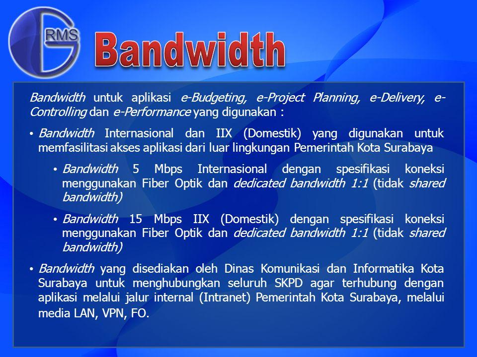 Bandwidth untuk aplikasi e-Budgeting, e-Project Planning, e-Delivery, e- Controlling dan e-Performance yang digunakan : Bandwidth Internasional dan II