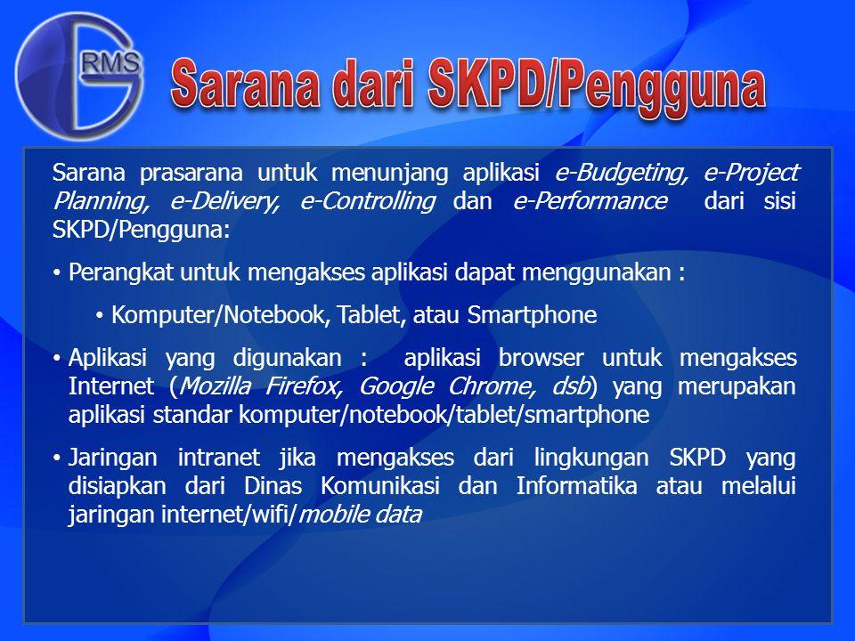 Sarana prasarana untuk menunjang aplikasi e-Budgeting, e-Project Planning, e-Delivery, e-Controlling dan e-Performance dari sisi SKPD/Pengguna: Perang