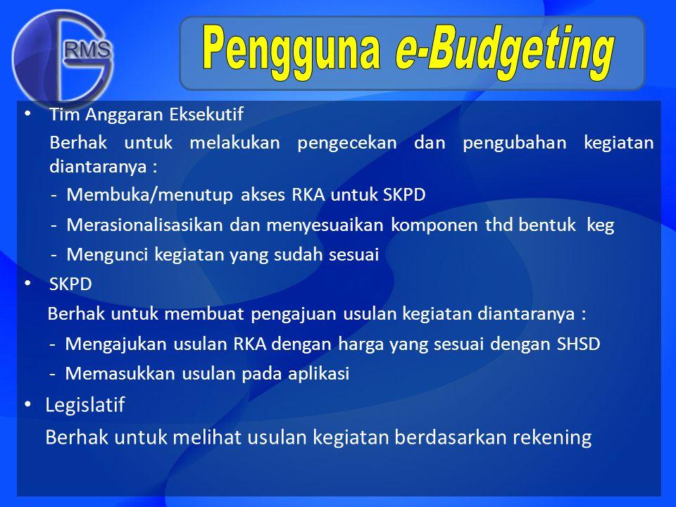 Tim Anggaran Eksekutif Berhak untuk melakukan pengecekan dan pengubahan kegiatan diantaranya : - Membuka/menutup akses RKA untuk SKPD - Merasionalisas