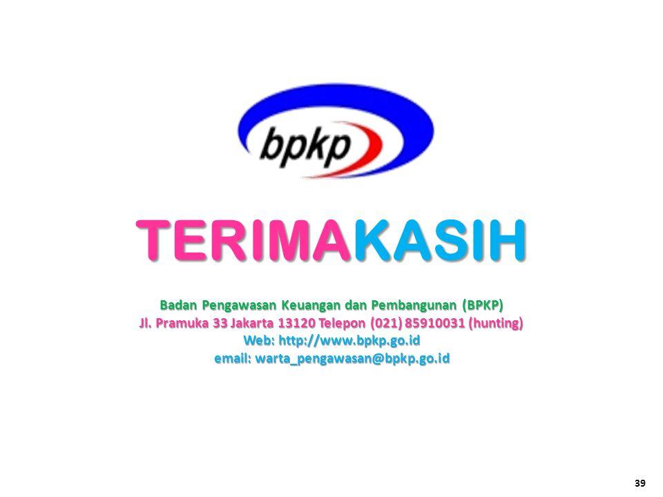 Badan Pengawasan Keuangan dan Pembangunan (BPKP) Jl. Pramuka 33 Jakarta 13120 Telepon (021) 85910031 (hunting) Web: http://www.bpkp.go.id email: warta
