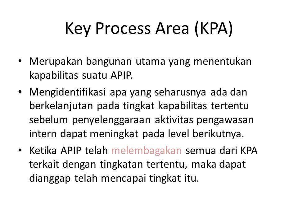 Key Process Area (KPA) Merupakan bangunan utama yang menentukan kapabilitas suatu APIP. Mengidentifikasi apa yang seharusnya ada dan berkelanjutan pad