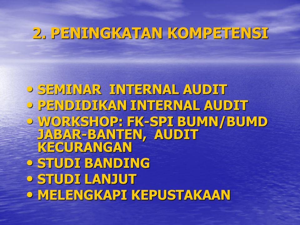 2. PENINGKATAN KOMPETENSI SEMINAR INTERNAL AUDIT SEMINAR INTERNAL AUDIT PENDIDIKAN INTERNAL AUDIT PENDIDIKAN INTERNAL AUDIT WORKSHOP: FK-SPI BUMN/BUMD