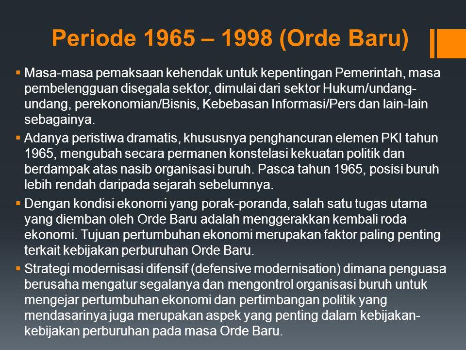 Periode 1965 – 1998 (Orde Baru)  Masa-masa pemaksaan kehendak untuk kepentingan Pemerintah, masa pembelengguan disegala sektor, dimulai dari sektor Hukum/undang- undang, perekonomian/Bisnis, Kebebasan Informasi/Pers dan lain-lain sebagainya.