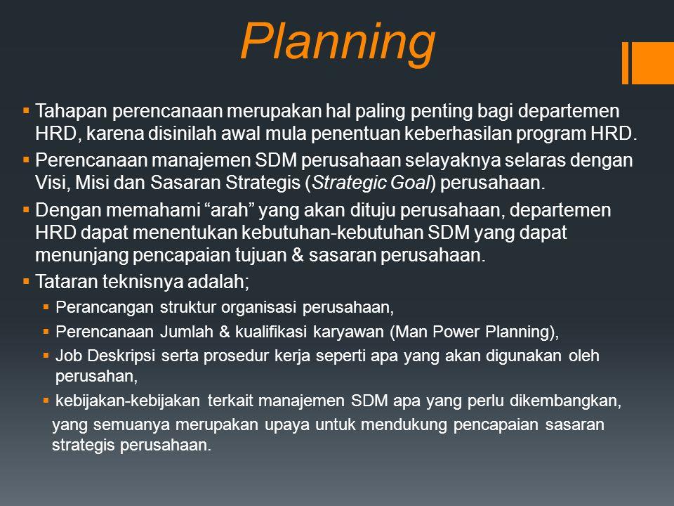 Planning  Tahapan perencanaan merupakan hal paling penting bagi departemen HRD, karena disinilah awal mula penentuan keberhasilan program HRD.