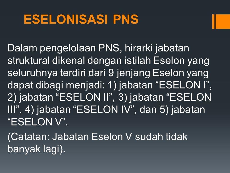 ESELONISASI PNS Dalam pengelolaan PNS, hirarki jabatan struktural dikenal dengan istilah Eselon yang seluruhnya terdiri dari 9 jenjang Eselon yang dapat dibagi menjadi: 1) jabatan ESELON I , 2) jabatan ESELON II , 3) jabatan ESELON III , 4) jabatan ESELON IV , dan 5) jabatan ESELON V .