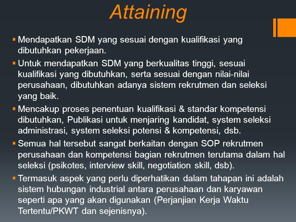 Attaining  Mendapatkan SDM yang sesuai dengan kualifikasi yang dibutuhkan pekerjaan.