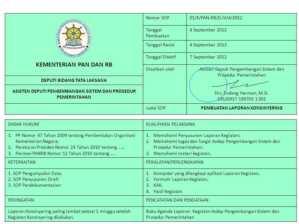 KEMENTERIAN PAN DAN RB Nomor SOP01/K/PAN-RB/D.IV/4/2012 Tanggal Pembuatan 4 September 2012 Tanggal Revisi4 September 2013 Tanggal Efektif7 September 2