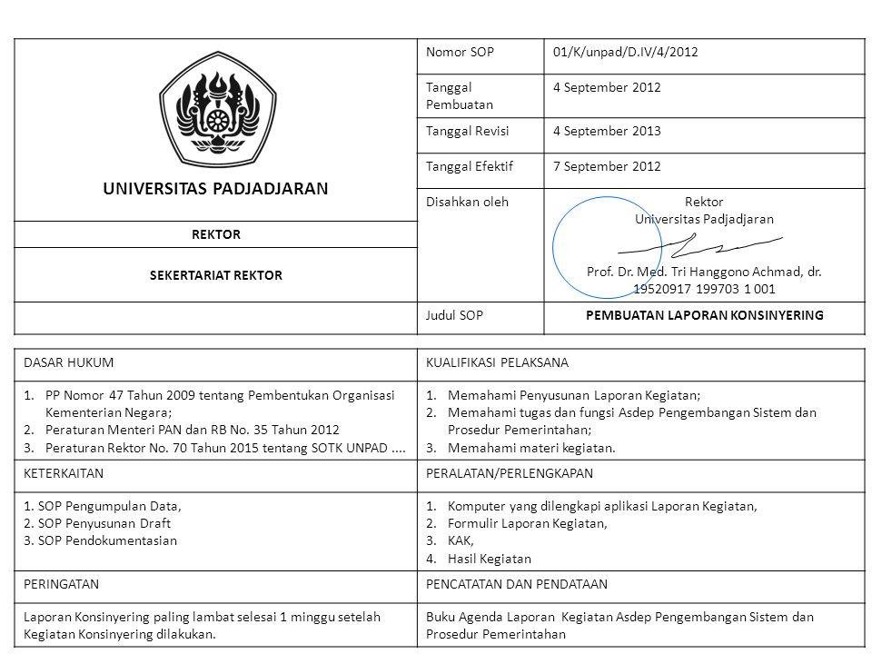 UNIVERSITAS PADJADJARAN Nomor SOP01/K/unpad/D.IV/4/2012 Tanggal Pembuatan 4 September 2012 Tanggal Revisi4 September 2013 Tanggal Efektif7 September 2012 Disahkan olehRektor Universitas Padjadjaran Prof.