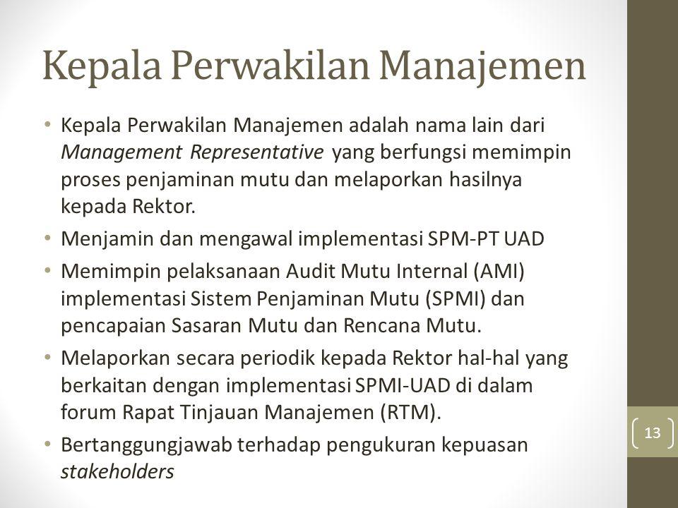 Kepala Perwakilan Manajemen Kepala Perwakilan Manajemen adalah nama lain dari Management Representative yang berfungsi memimpin proses penjaminan mutu