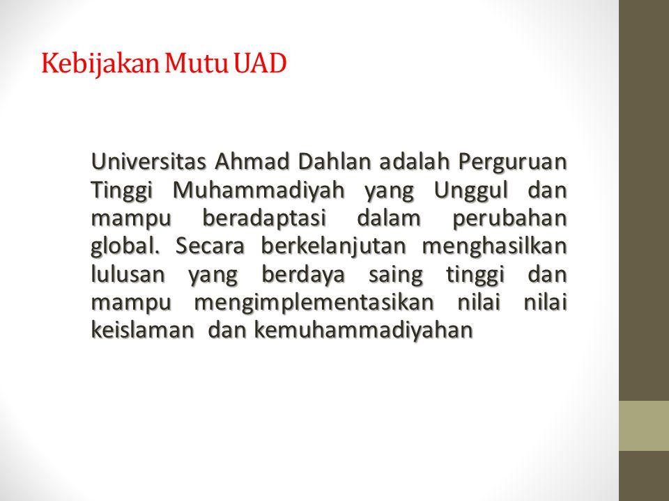 Kebijakan Mutu UAD Universitas Ahmad Dahlan adalah Perguruan Tinggi Muhammadiyah yang Unggul dan mampu beradaptasi dalam perubahan global. Secara berk