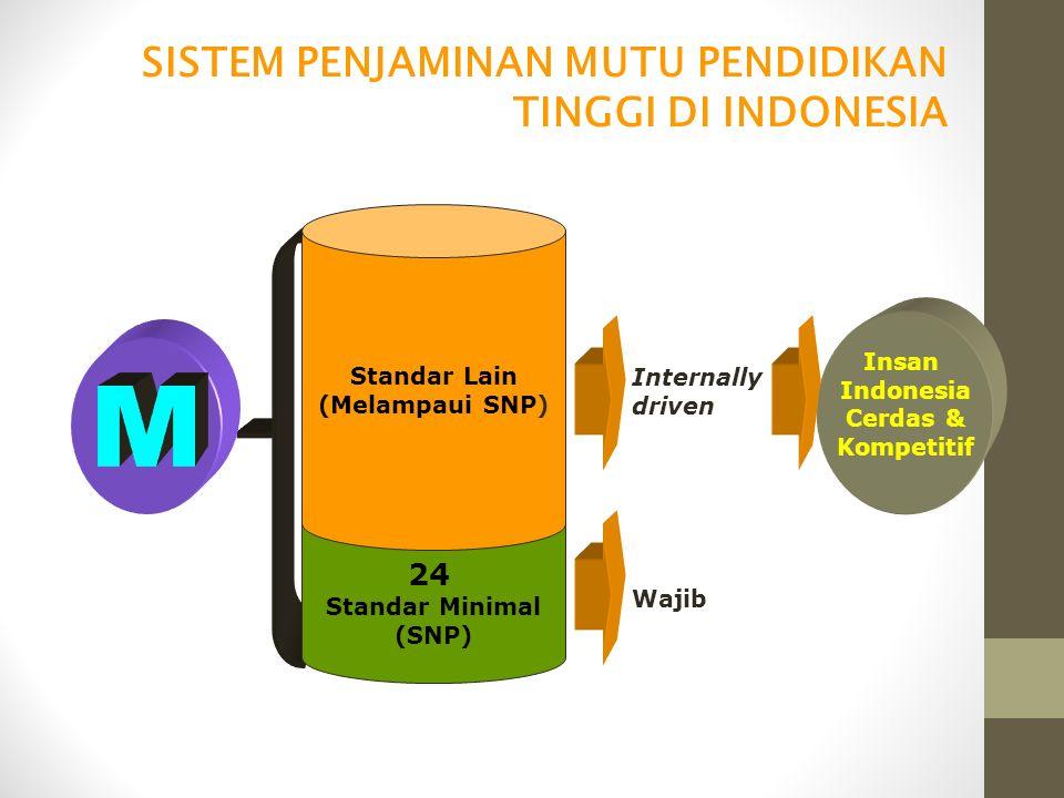 24 Standar Minimal (SNP) Standar Lain (Melampaui SNP) Wajib Internally driven Insan Indonesia Cerdas & Kompetitif SISTEM PENJAMINAN MUTU PENDIDIKAN TI