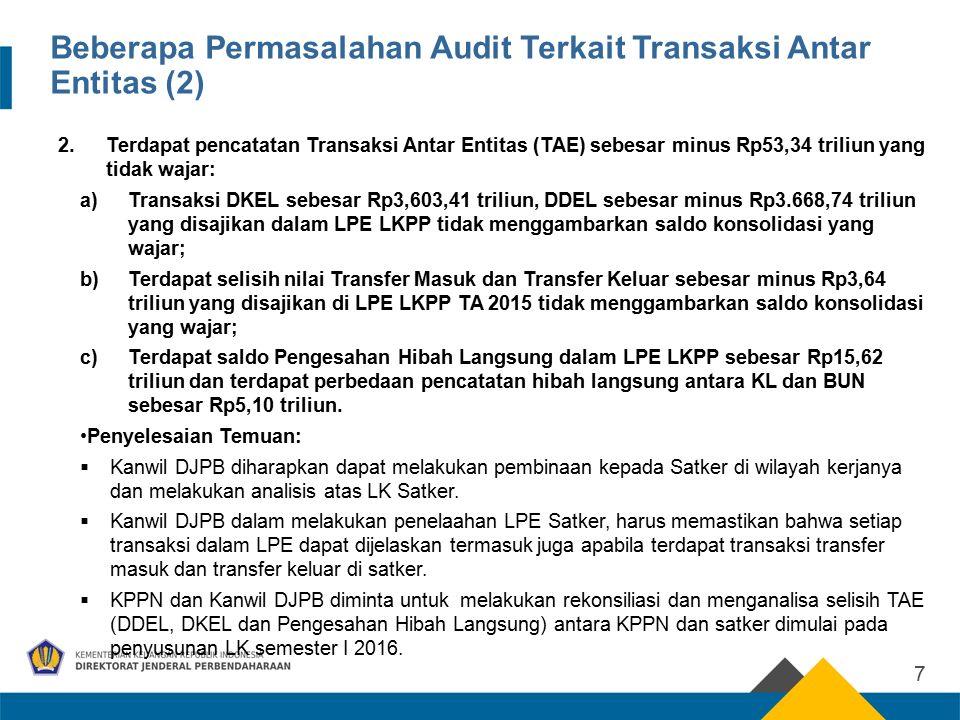 Beberapa Permasalahan Audit Terkait Transaksi Antar Entitas (2) 2.Terdapat pencatatan Transaksi Antar Entitas (TAE) sebesar minus Rp53,34 triliun yang tidak wajar: a)Transaksi DKEL sebesar Rp3,603,41 triliun, DDEL sebesar minus Rp3.668,74 triliun yang disajikan dalam LPE LKPP tidak menggambarkan saldo konsolidasi yang wajar; b)Terdapat selisih nilai Transfer Masuk dan Transfer Keluar sebesar minus Rp3,64 triliun yang disajikan di LPE LKPP TA 2015 tidak menggambarkan saldo konsolidasi yang wajar; c)Terdapat saldo Pengesahan Hibah Langsung dalam LPE LKPP sebesar Rp15,62 triliun dan terdapat perbedaan pencatatan hibah langsung antara KL dan BUN sebesar Rp5,10 triliun.