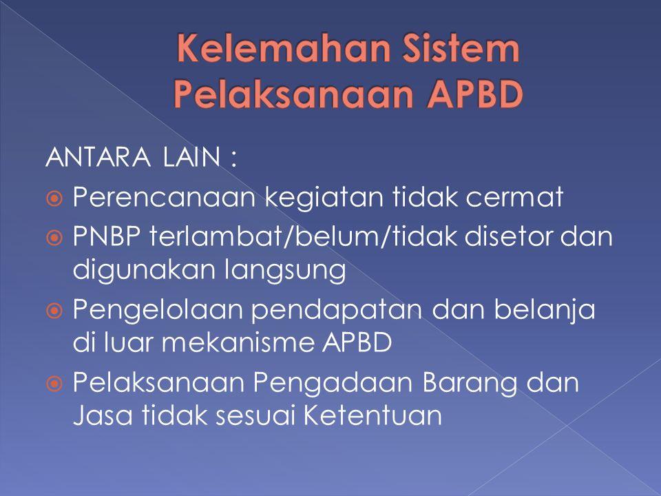ANTARA LAIN :  Perencanaan kegiatan tidak cermat  PNBP terlambat/belum/tidak disetor dan digunakan langsung  Pengelolaan pendapatan dan belanja di luar mekanisme APBD  Pelaksanaan Pengadaan Barang dan Jasa tidak sesuai Ketentuan