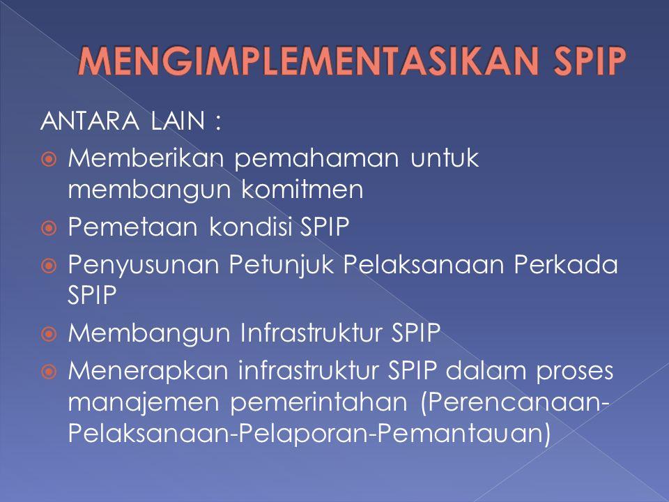 ANTARA LAIN :  Memberikan pemahaman untuk membangun komitmen  Pemetaan kondisi SPIP  Penyusunan Petunjuk Pelaksanaan Perkada SPIP  Membangun Infrastruktur SPIP  Menerapkan infrastruktur SPIP dalam proses manajemen pemerintahan (Perencanaan- Pelaksanaan-Pelaporan-Pemantauan)