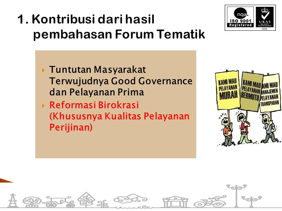  Tuntutan Masyarakat Terwujudnya Good Governance dan Pelayanan Prima  Reformasi Birokrasi (Khususnya Kualitas Pelayanan Perijinan)