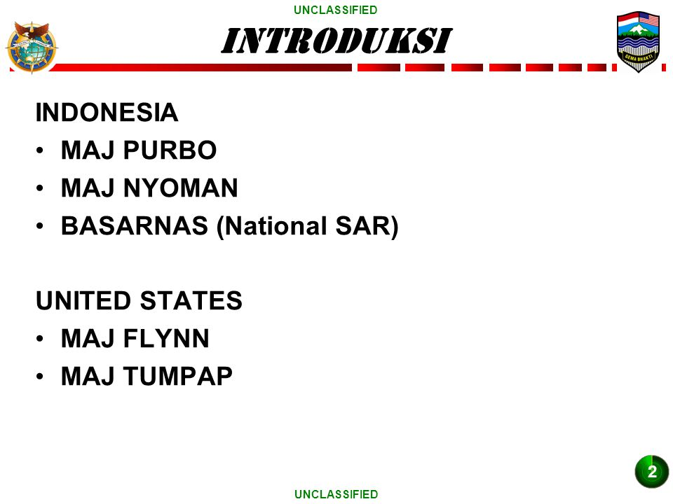UNCLASSIFIED INDONESIA MAJ PURBO MAJ NYOMAN BASARNAS (National SAR) UNITED STATES MAJ FLYNN MAJ TUMPAP introduksi 2