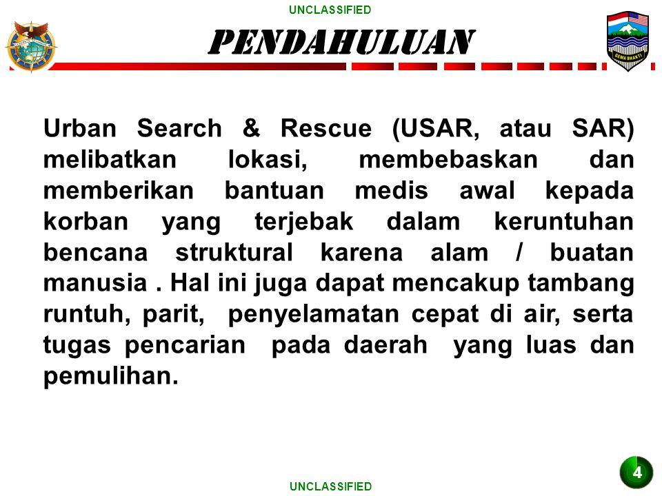 UNCLASSIFIED PENDAHULUAN Urban Search & Rescue (USAR, atau SAR) melibatkan lokasi, membebaskan dan memberikan bantuan medis awal kepada korban yang terjebak dalam keruntuhan bencana struktural karena alam / buatan manusia.