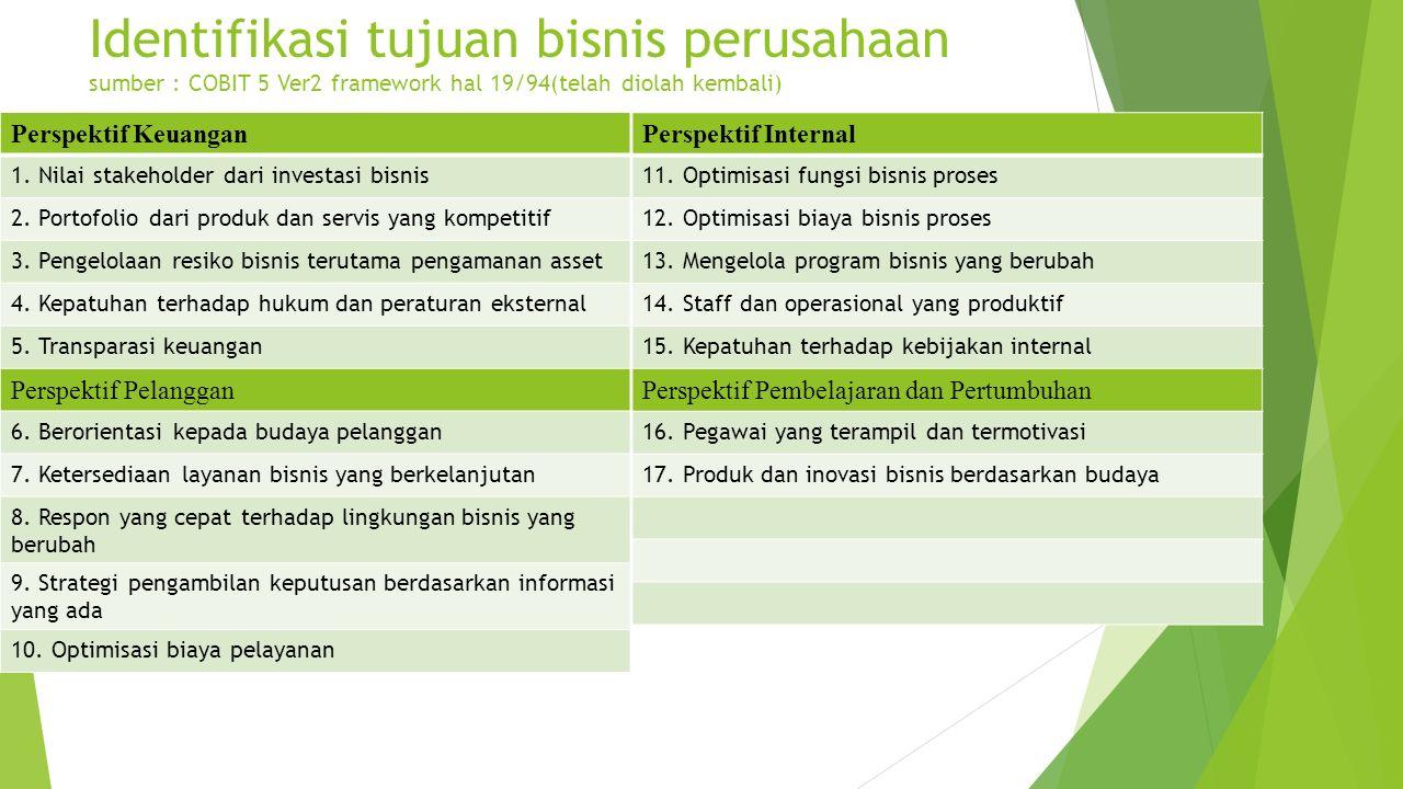 Identifikasi tujuan bisnis perusahaan sumber : COBIT 5 Ver2 framework hal 19/94(telah diolah kembali) Perspektif Keuangan 1. Nilai stakeholder dari in