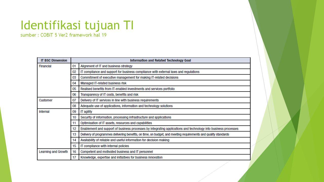 Identifikasi tujuan TI sumber : COBIT 5 Ver2 framework hal 19