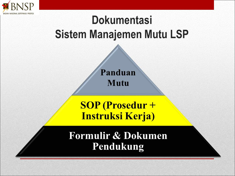 Untuk mendemonstrasikan unit ini, peserta harus dapat memberikan bukti: 1.Menyusun dokumen Panduan Mutu LSP 2.Menyusun dokumen SOP LSP 3.Menyusun daftar dokumen pendukung pendirian LSP 4.Menyiapkan Formulir-Formulir yang diperlukan  PENTING
