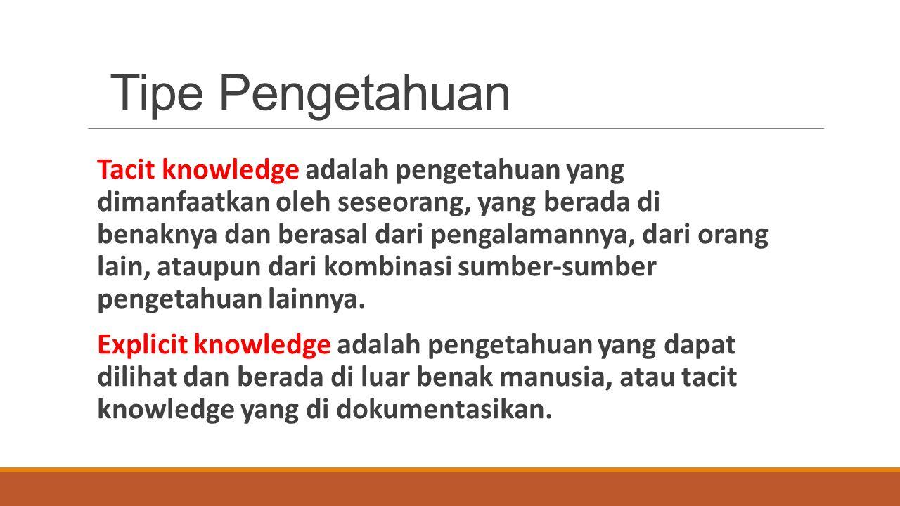 Tipe Pengetahuan Tacit knowledge adalah pengetahuan yang dimanfaatkan oleh seseorang, yang berada di benaknya dan berasal dari pengalamannya, dari orang lain, ataupun dari kombinasi sumber-sumber pengetahuan lainnya.
