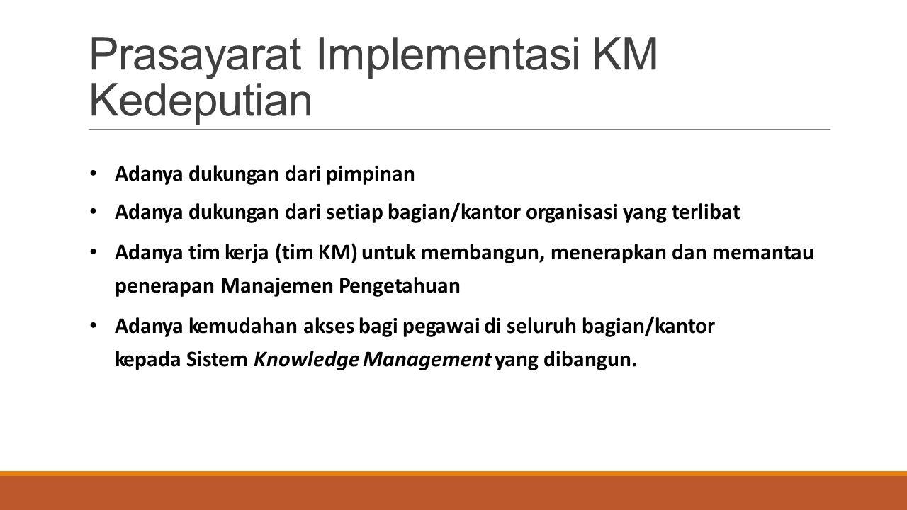 Adanya dukungan dari pimpinan Adanya dukungan dari setiap bagian/kantor organisasi yang terlibat Adanya tim kerja (tim KM) untuk membangun, menerapkan dan memantau penerapan Manajemen Pengetahuan Adanya kemudahan akses bagi pegawai di seluruh bagian/kantor kepada Sistem Knowledge Management yang dibangun.