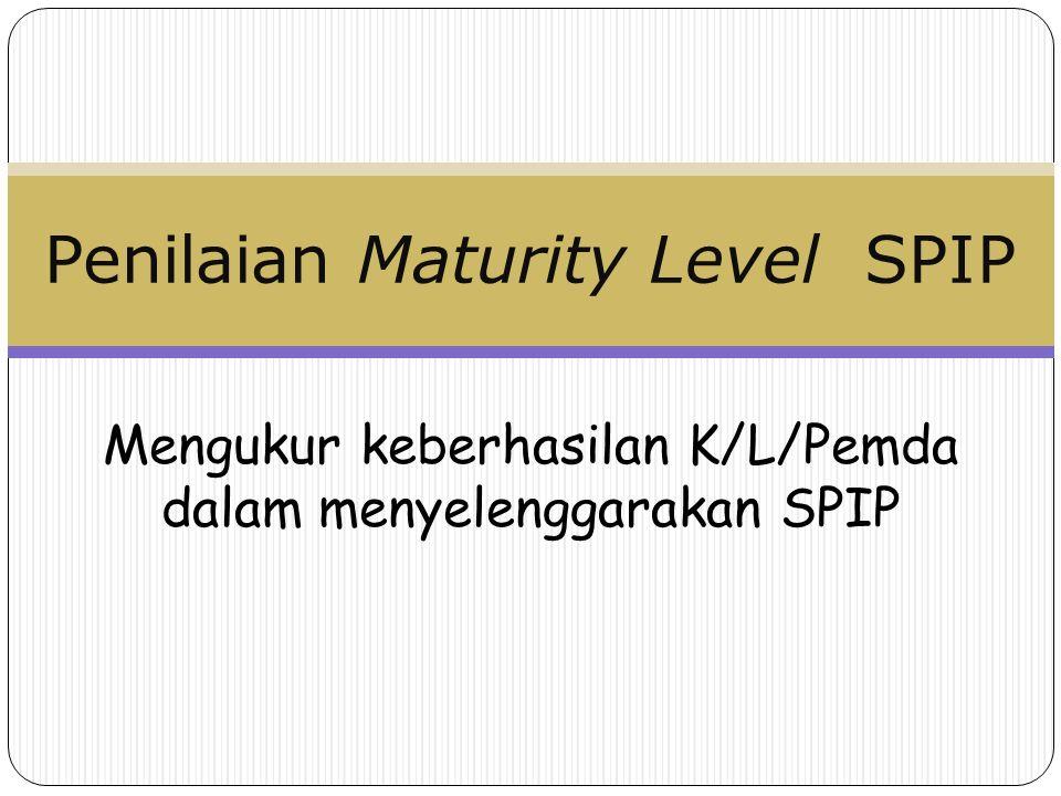Mengukur keberhasilan K/L/Pemda dalam menyelenggarakan SPIP Penilaian Maturity Level SPIP