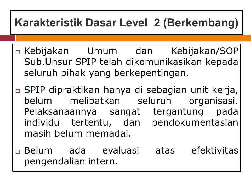 Karakteristik Dasar Level 2 (Berkembang)  Kebijakan Umum dan Kebijakan/SOP Sub.Unsur SPIP telah dikomunikasikan kepada seluruh pihak yang berkepentingan.