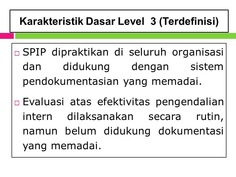 Karakteristik Dasar Level 3 (Terdefinisi)  SPIP dipraktikan di seluruh organisasi dan didukung dengan sistem pendokumentasian yang memadai.