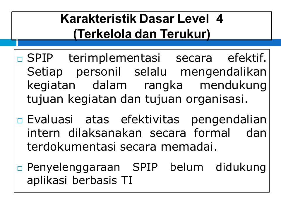 Karakteristik Dasar Level 4 (Terkelola dan Terukur)  SPIP terimplementasi secara efektif.
