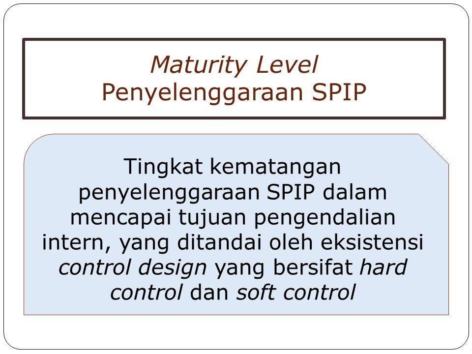 Maturity Level Penyelenggaraan SPIP Tingkat kematangan penyelenggaraan SPIP dalam mencapai tujuan pengendalian intern, yang ditandai oleh eksistensi control design yang bersifat hard control dan soft control