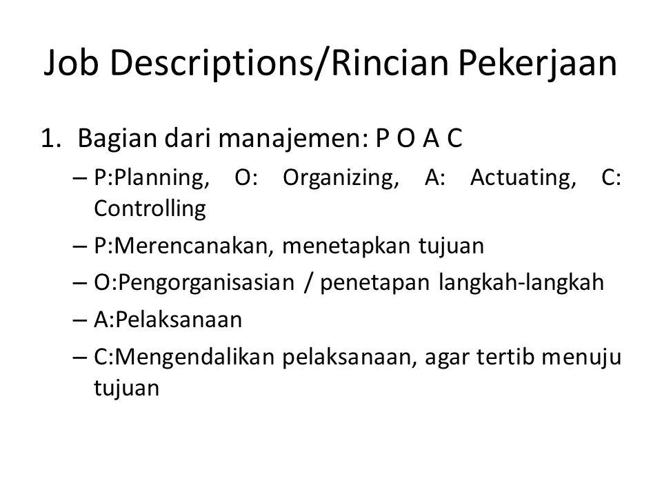 Job Descriptions/Rincian Pekerjaan 1.Bagian dari manajemen: P O A C – P:Planning, O: Organizing, A: Actuating, C: Controlling – P:Merencanakan, menetapkan tujuan – O:Pengorganisasian / penetapan langkah-langkah – A:Pelaksanaan – C:Mengendalikan pelaksanaan, agar tertib menuju tujuan