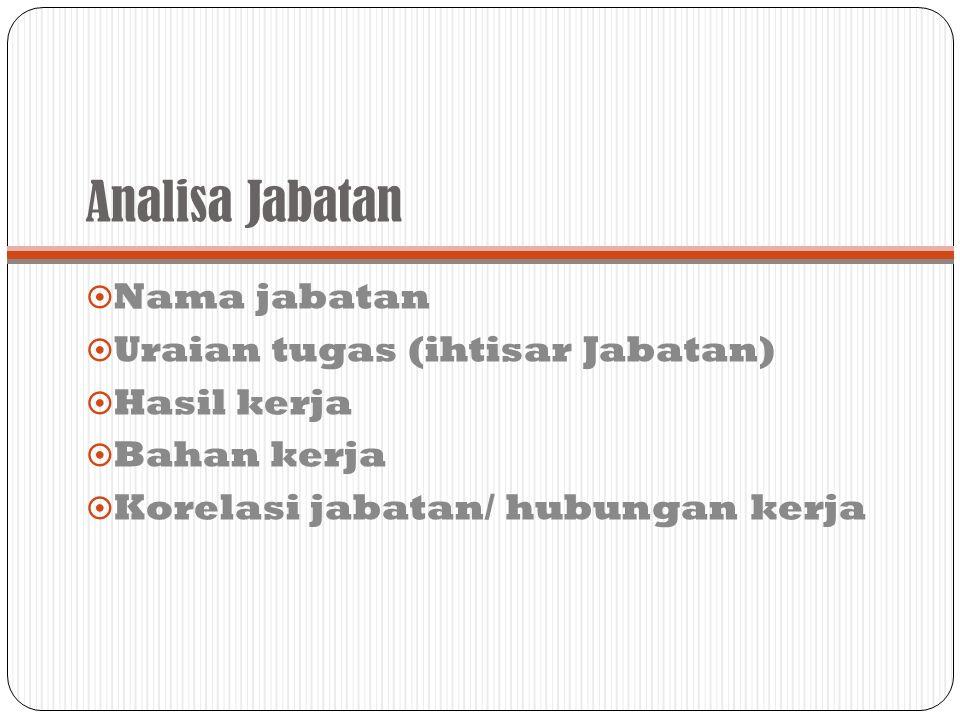 Analisa Jabatan  Nama jabatan  Uraian tugas (ihtisar Jabatan)  Hasil kerja  Bahan kerja  Korelasi jabatan/ hubungan kerja