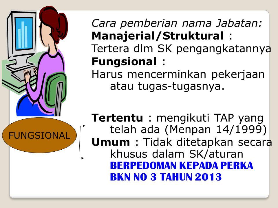 Cara pemberian nama Jabatan: Manajerial/Struktural : Tertera dlm SK pengangkatannya Fungsional : Harus mencerminkan pekerjaan atau tugas-tugasnya. Ter