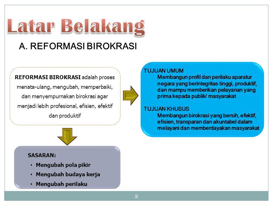 A. REFORMASI BIROKRASI REFORMASI BIROKRASI adalah proses menata-ulang, mengubah, memperbaiki, dan menyempurnakan birokrasi agar menjadi lebih profesio