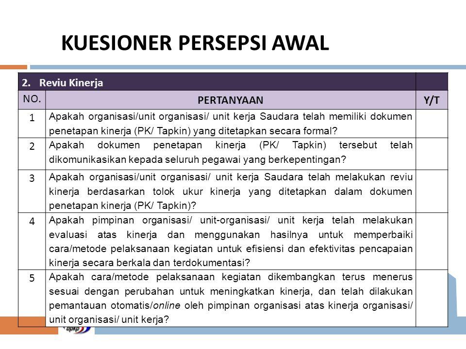 KUESIONER PERSEPSI AWAL 2.Reviu Kinerja NO. PERTANYAANY/T 1 Apakah organisasi/unit organisasi/ unit kerja Saudara telah memiliki dokumen penetapan kin