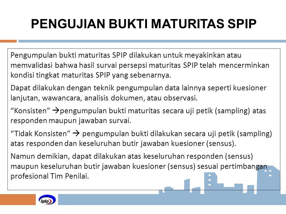 Pengumpulan bukti maturitas SPIP dilakukan untuk meyakinkan atau memvalidasi bahwa hasil survai persepsi maturitas SPIP telah mencerminkan kondisi tin