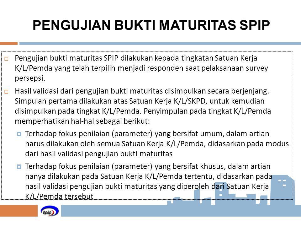  Pengujian bukti maturitas SPIP dilakukan kepada tingkatan Satuan Kerja K/L/Pemda yang telah terpilih menjadi responden saat pelaksanaan survey perse