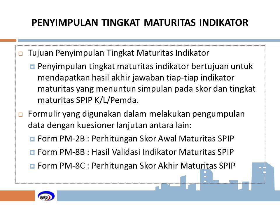 PENYIMPULAN TINGKAT MATURITAS INDIKATOR  Tujuan Penyimpulan Tingkat Maturitas Indikator  Penyimpulan tingkat maturitas indikator bertujuan untuk men