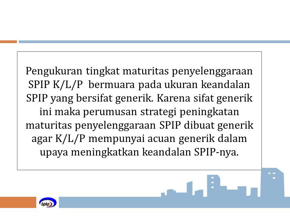 Pengukuran tingkat maturitas penyelenggaraan SPIP K/L/P bermuara pada ukuran keandalan SPIP yang bersifat generik. Karena sifat generik ini maka perum