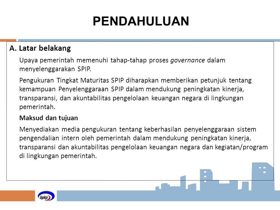 A. Latar belakang Upaya pemerintah memenuhi tahap-tahap proses governance dalam menyelenggarakan SPIP. Pengukuran Tingkat Maturitas SPIP diharapkan me