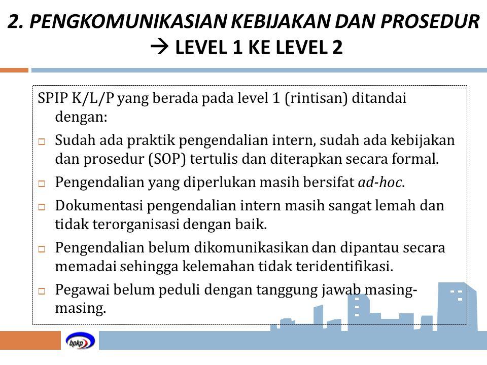 SPIP K/L/P yang berada pada level 1 (rintisan) ditandai dengan:  Sudah ada praktik pengendalian intern, sudah ada kebijakan dan prosedur (SOP) tertul