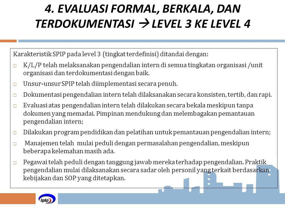 Karakteristik SPIP pada level 3 (tingkat terdefinisi) ditandai dengan:  K/L/P telah melaksanakan pengendalian intern di semua tingkatan organisasi /u