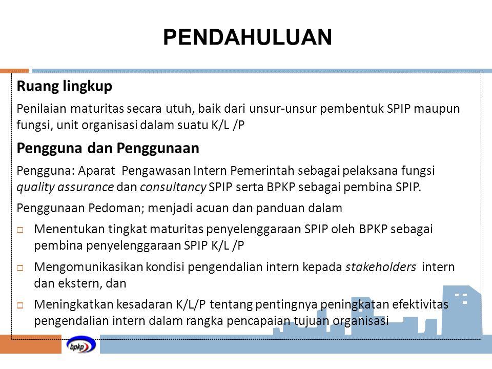 Ruang lingkup Penilaian maturitas secara utuh, baik dari unsur-unsur pembentuk SPIP maupun fungsi, unit organisasi dalam suatu K/L /P Pengguna dan Pen